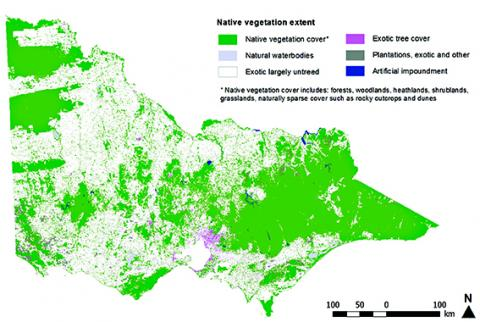 native vegetation extent in victoria as at 2010